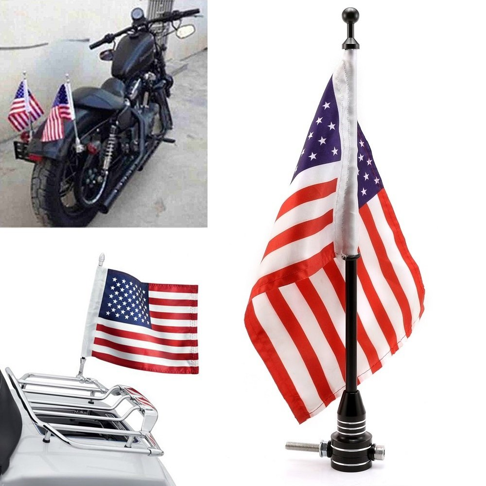 Universal Motorcycle American USA Flag + Flagpole Mount Luggage Rack Fender For Harley Sportster Fatboy Dyna Softail V-ROD Cafer Chopper Bobber Touring Electra Street Road Glide Road King(Black)