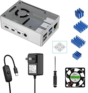 Ingers Aluminum Alloy Case Kit for Raspberry Pi 4, with 5.1V USB-C Power Supply with ON/Off Switch, Cooling Fan, 4 Aluminum Heatsinks, Screwdriver, Rubber Feet for Raspberry Pi 4 Model B