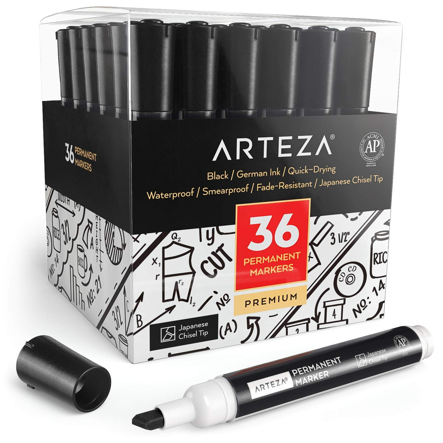 ARTEZA Permanent Markers Set of 36 (Black, Chisel Tip) - Waterproof Markers - Premium Smear Proof Pens - Waterproof - Quick Drying