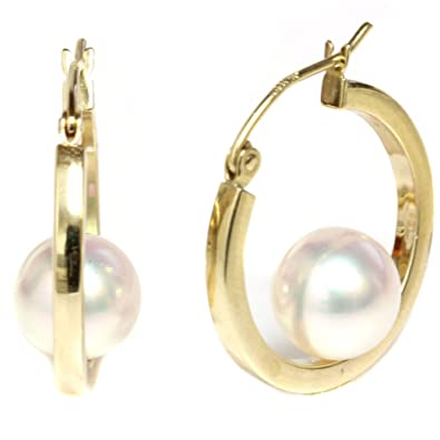 93175ed7638 14k Yellow Gold Cultured Saltwater Akoya Pearl Dangle Hoop earrings - AAA  and AAA Flawless