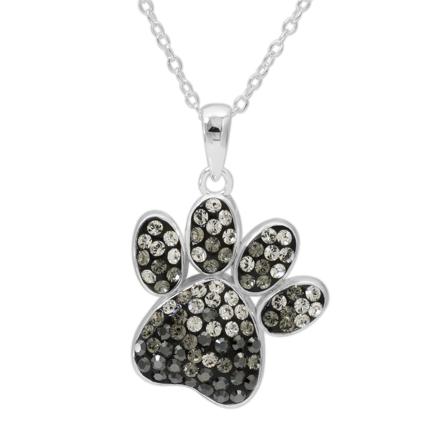 Crystalogy Sterling Silver Swarovski Crystal Dog Paw Animal Pendant Necklace for Women, 18''