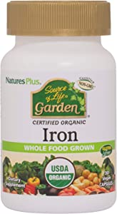 NaturesPlus Source of Life Garden Certified Organic Family Iron 18 mg Cap - 30 Vegan Capsules - Plant-Based Iron Supplement - Supports Healthy Blood - Vegetarian, Gluten-Free - 30 Servings