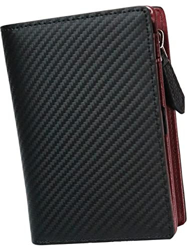392cad53f1cd イタリア カーボンレザー イタリアレザー 本革 レザー ロングウォレット 二つ折り財布 2つ折り財布