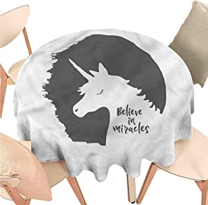 Iuvolux Round Tablecloth Quote,Believe in Miracles Phrase,Indoor Outdoor Spillproof Tablecloth Table Cover for Spring Summer Patio Garden Tabletop Decor Diameter 70 inch