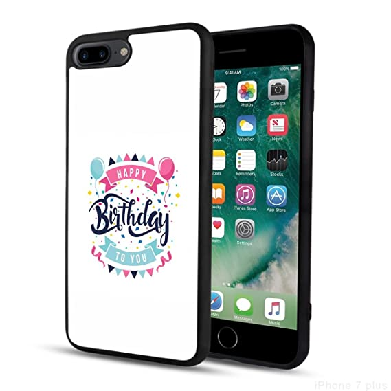 Happy Pink Birthday Balloon IPhone 7 Plus 8 Black Case Penard Phone