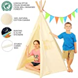 Canvas Teepee Children Playhouse 6 Pole Tipi Teepees for Kids Natural Tee Pee