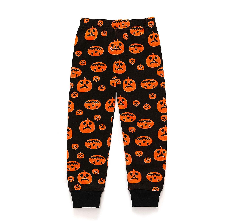 Boys Pajamas Cotton T Shirt Pants 2 Pieces Sleepwear Halloween Pumpkin Outfit