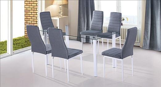 HOGAR24.es-Conjunto Mesa de salón + 6 sillas Blanco Yuri: Amazon ...
