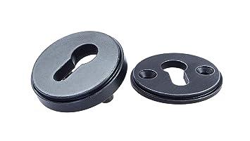 Schrauben PZ 1 Rosettenpaar rund inkl H9060 Profilzylinder JUVA Schutzbeschlag Haust/ür Zylinder-Sicherheitsrosette mit Kernziehschutz Schutz-Rosette Edelstahl