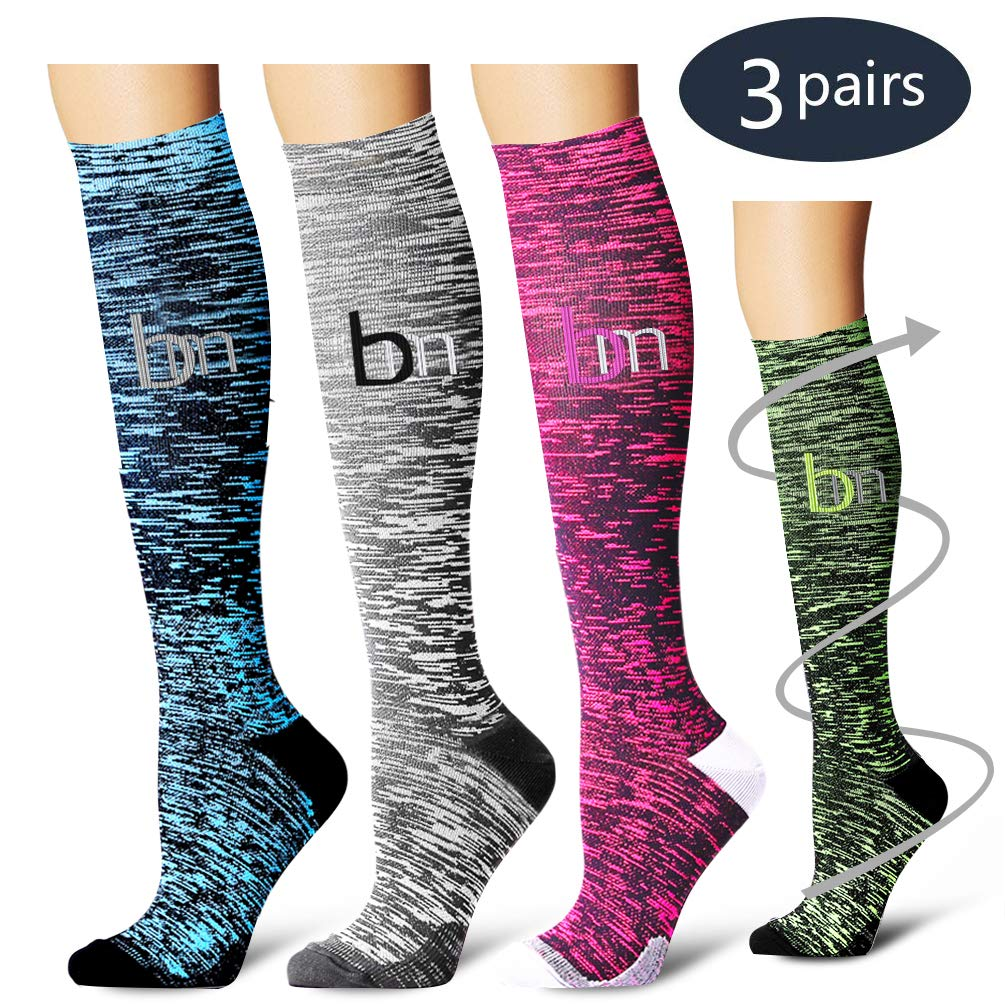 Laite Hebe Compression Socks,(3 Pairs) Compression Sock Women & Men - Best Running, Athletic Sports, Crossfit, Flight Travel (Multti-colors22, Small/Medium)