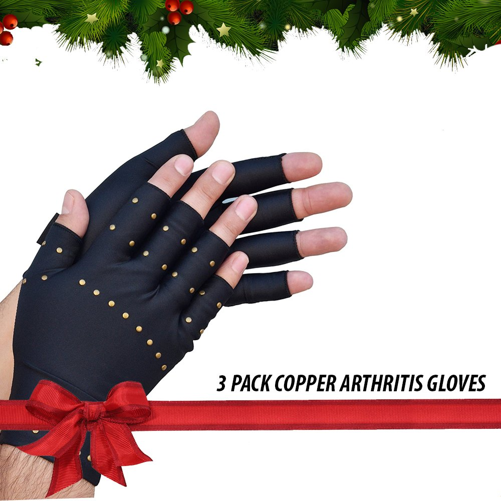 LifeShop 3-PACK Premium Copper Infused Mild Compression Arthritis Gloves - Joint Relief, Everyday Therapeutic Use, Arthritis Pain, Pain Relief (3 PAIR)