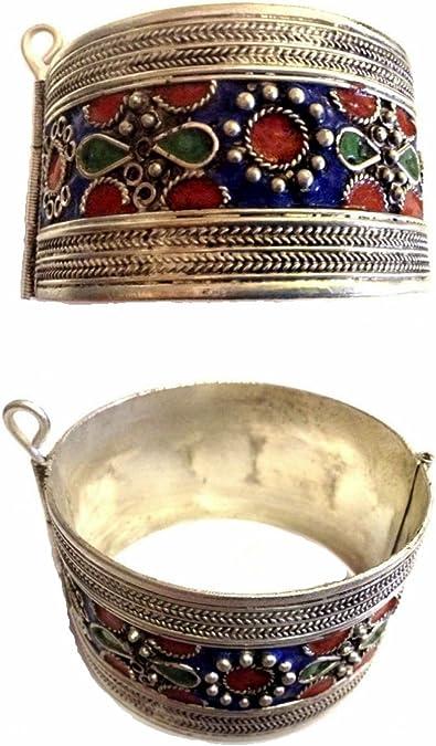 Vintage Bangle box  Tribal Jewelry  Enamel Berber Bracelet and Box