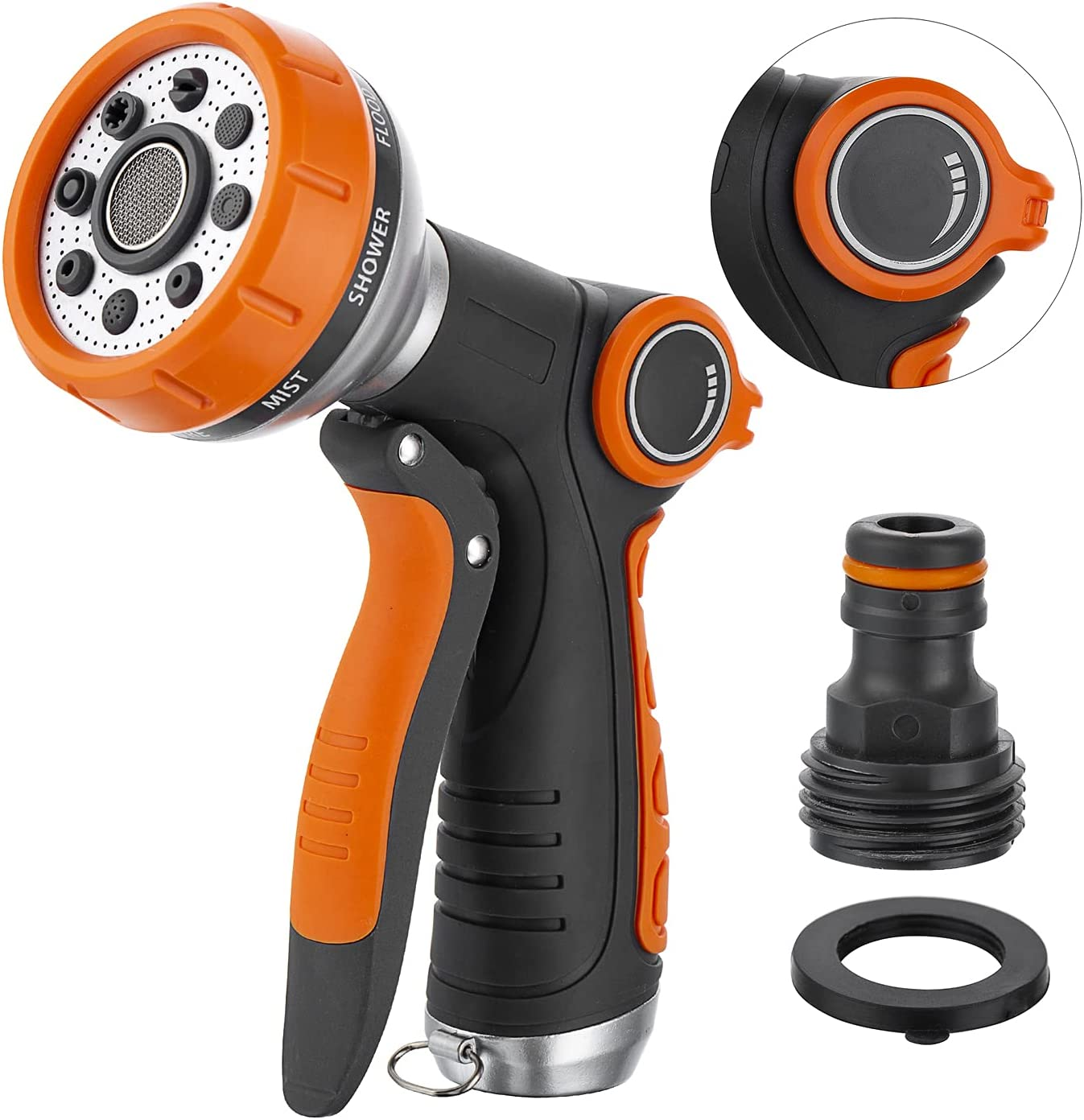 Garden Hose Nozzle Spray Nozzle, Metal Heave Duty Water Nozzle, 8 Watering Patterns High Pressure Nozzle Sprayer for Watering Plants, Cleaning, Car Wash and Showering Dog & Pets