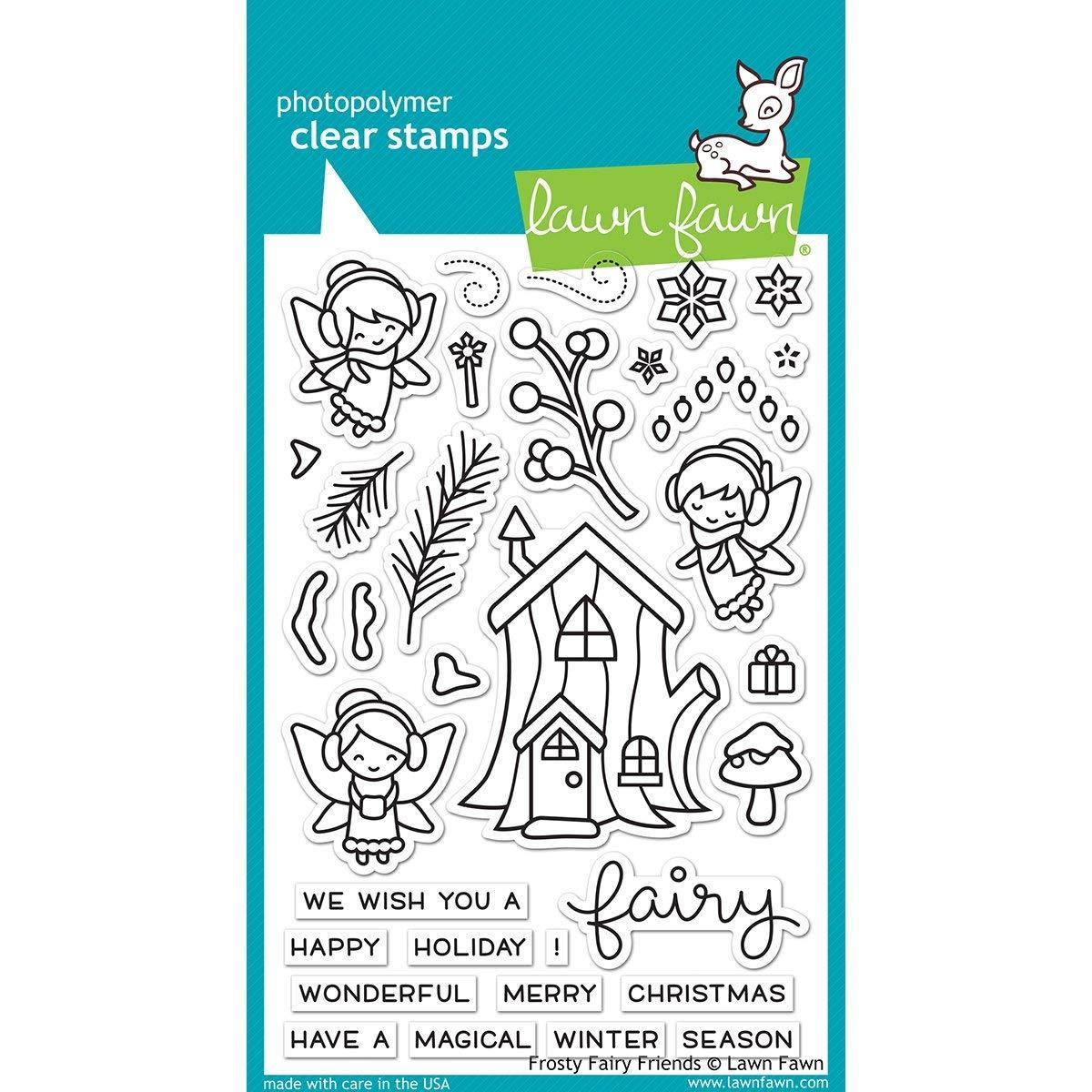 Lawn Fawn satinato Fairy Friends 10, 2x 15, 2cm Christmas timbri trasparenti LF1224