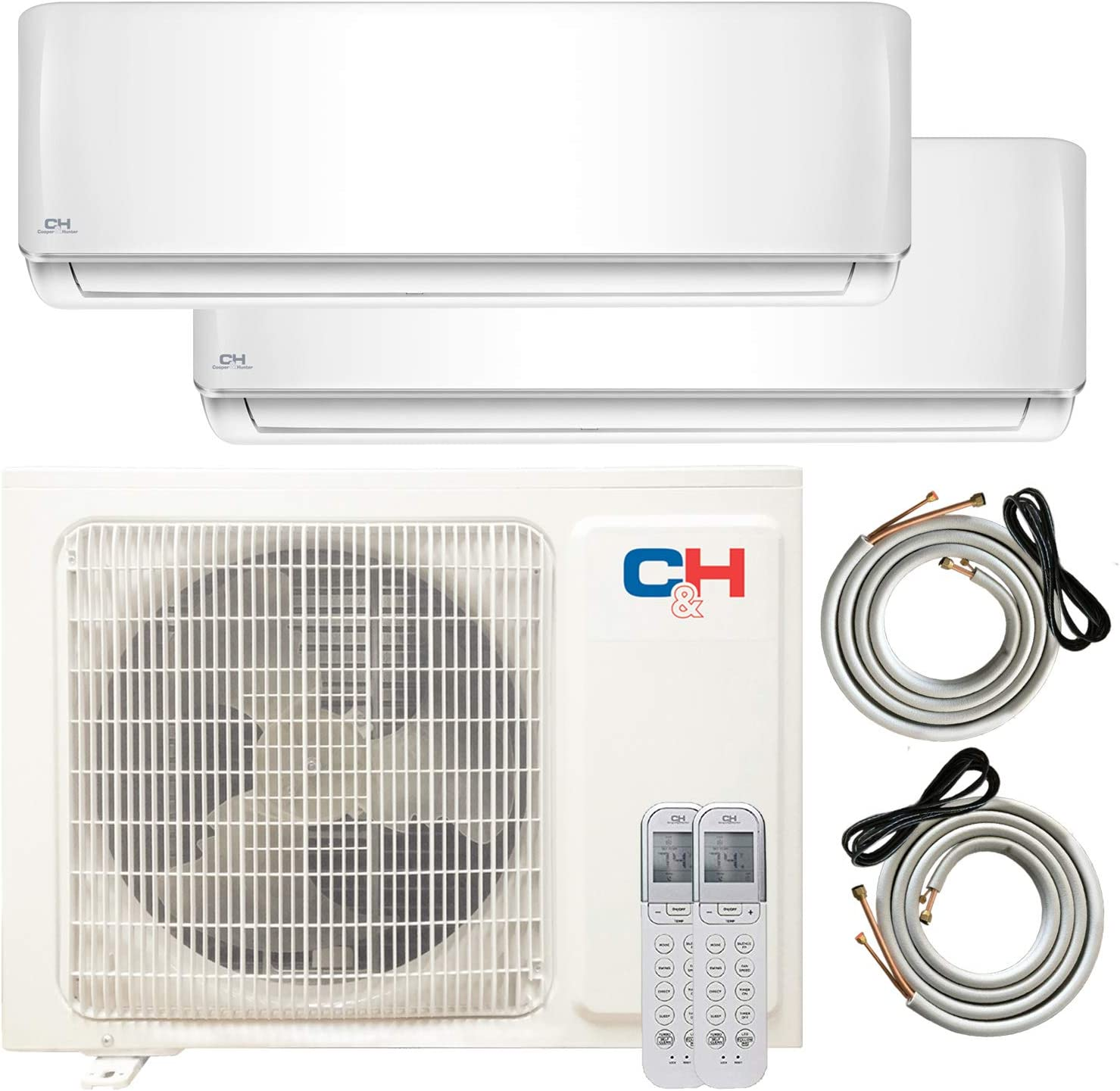 Dual 2 Zone 9,000 + 9,000 BTU Ductless Mini Split AC/Heating System, Pre-Charged, Heat Pump, 21.3 SEER Energy Star Certified, Including 25ft Copper Line Set and Communication Wires