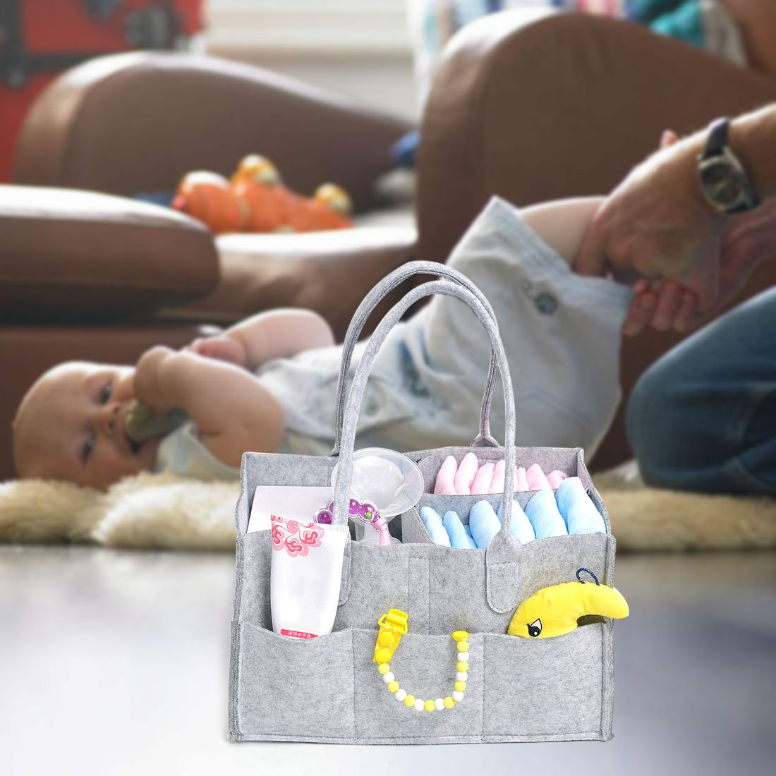 Saien Baby Diaper Caddy Organizer Portable Nursery Storage Tote for Diapers Wipes Gray Gray