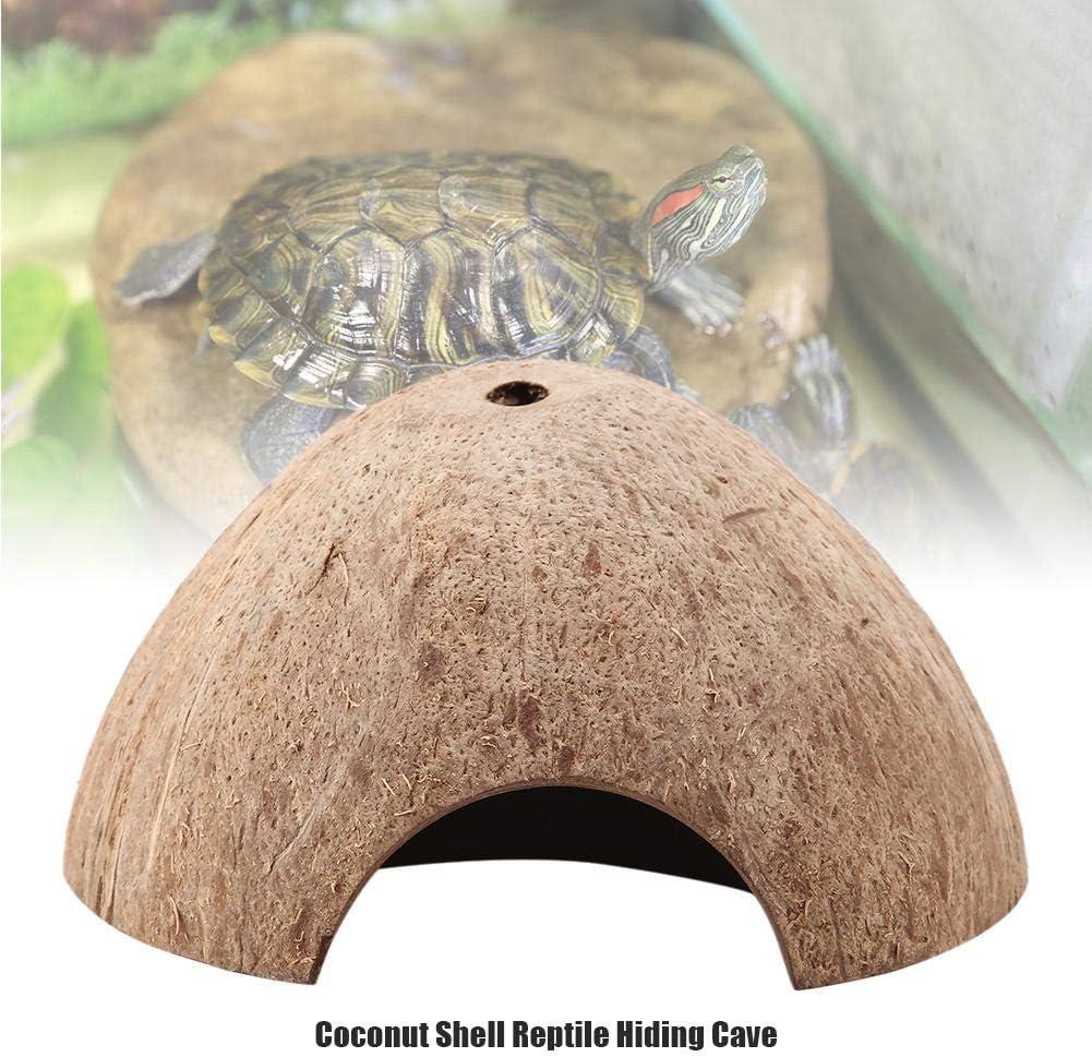 Reptile House Hiding Cave Natural Coconut Shell Turtle Aquarium Hide Decor