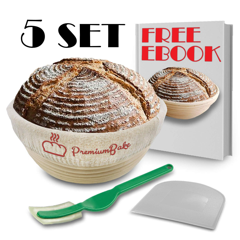 KIT 10 Inch Bread Basket Sourdough Starter - Banneton Proofing Basket, Dough Scraper, Bread Lame, Liner & FREE EBOOK - Bread Proofing Basket for Bread Baking Supplies, Bread Making Tools by PremiumBake