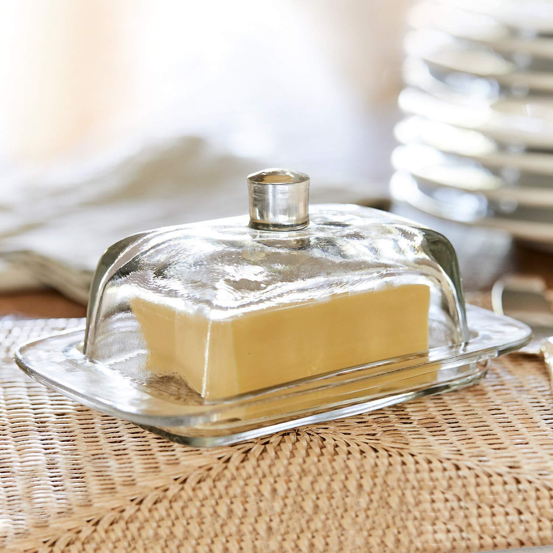 H//B//T 8//17 // 11 cm Loberon Butterdose Annie Glas klar