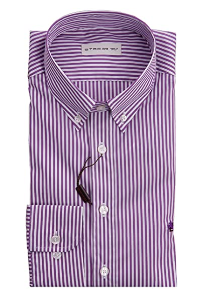 lowest price 787d9 6cb21 Etro Camicia A Righe Viola E Bianco, Uomo.: Amazon.it ...