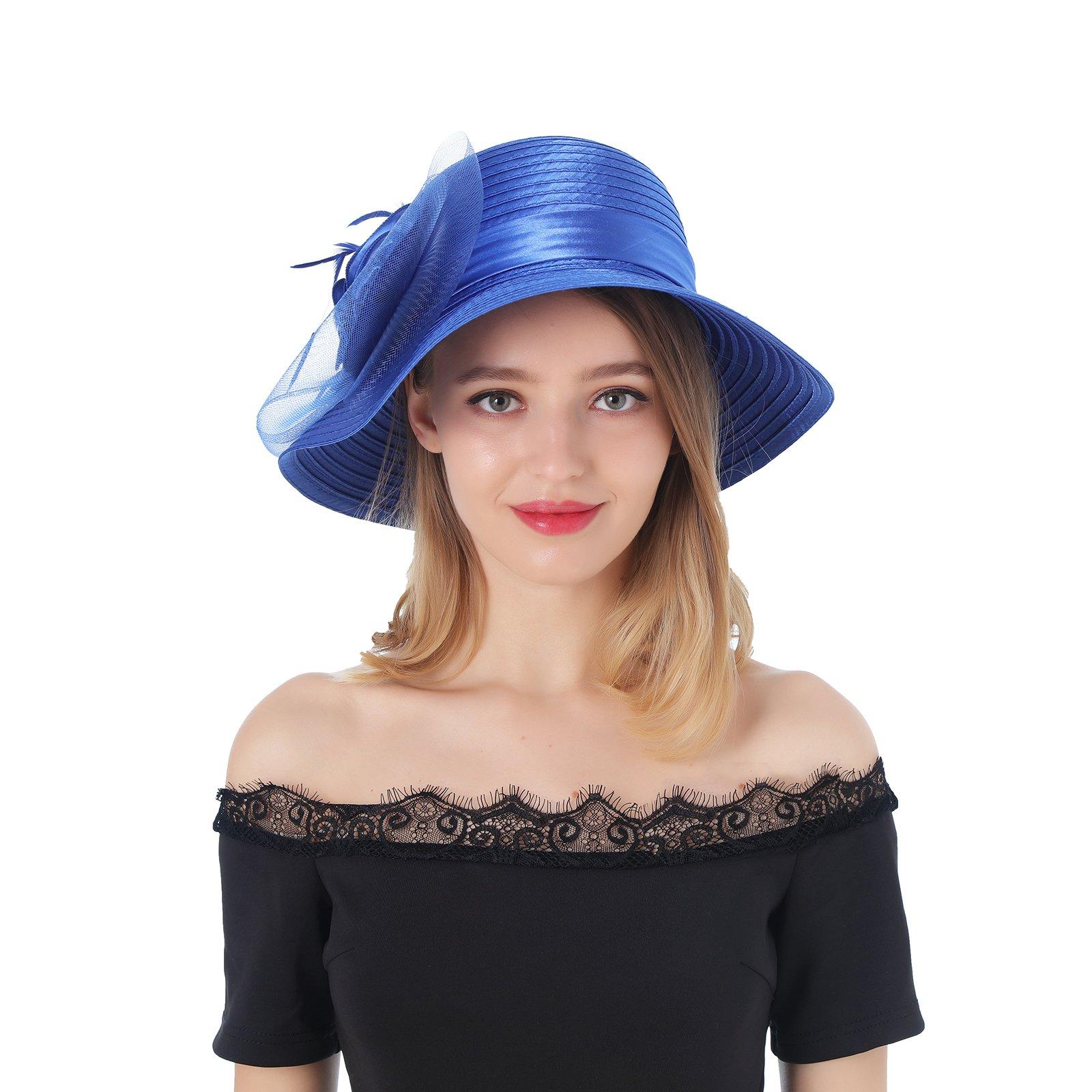 Dantiya Women's Organza Wide Brim Floral Ribbon Kentucky Derby Church Dress Sun Hat (Free, 2 Style-Blue)