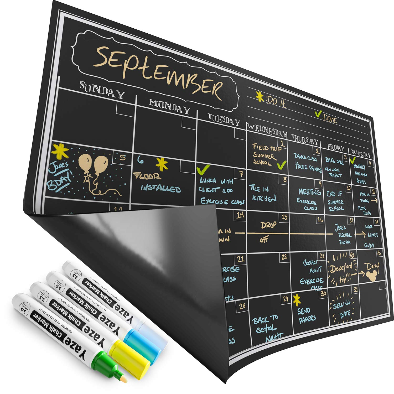 "Magnetic Calendar for Refrigerator - Dry Erase Black Board for Kitchen Fridge - Bright Neon Chalk Markers - 17X12"" Monthly Blackboard Organizer - Perfect Chalkboard Magnet"