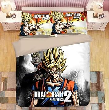 FJMM Anime Dragon Ball Duvet Cover Set 3D Bedding Sets 1 Duvet Cover and 2 Pillowcase//Soft,Full