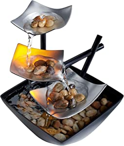 Indoor 3-Tier Relaxation Tabletop Fountain, Automatic Pump with Power Switch, Extra Deep Basin with Natural River Rocks and Reflective Lighting Feature, EnviraScape Silver Springs by HoMedics