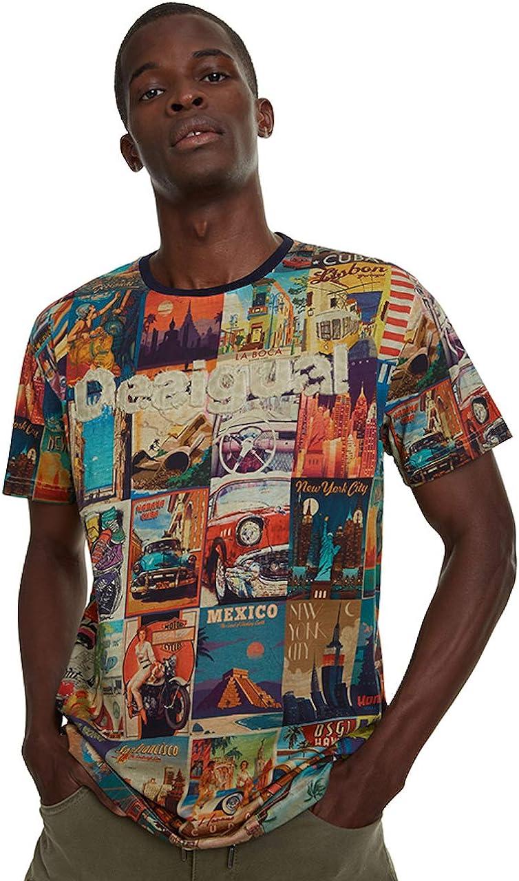 Desigual Postcards T-Shirt pour Homme Erenesto: