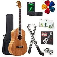Kmise Baritone Ukulele Mahogany 30 inch Ukelele Uke for Adult Beginner 4 String Guitar Kit w/Gig Bag Clip-On Tuner Strap…