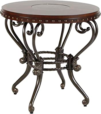 Jafar Round End Table in Warm Brown