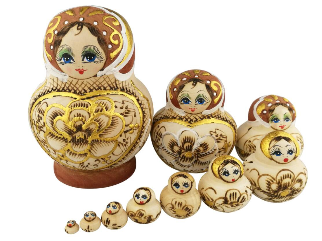 Winterworm Beautiful Big Belly Shape Brown Little Girl Gold Heart and Flower Handmade Wooden Russian Nesting Dolls Matryoshka Dolls Set 10 Pieces for Kids Toy Birthday Home Decoration