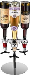 A&M Tech 4-Bottle Revolving Liquor Dispenser Rotating Bartender Alcohol Carousel Dispenser Bar Caddy Shot Dispenser for Liquor Bottles Beverage Liquor Whiskey Holder