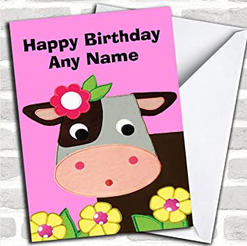 Pink Cute Cow Customised Birthday Greetings Card Cards Childrens Amazoncouk Office Products