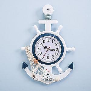 Lailuaxoa Outdoor Garden Clock, 13 inch Mediterranean Style Nautical Steering Hanging Decoration Ornament, Non Ticking Wall Clock Wheel Decor,D