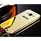 KolorFish Mirror Aluminum Metal Bumper Frame + Hard Acrylic Back Cover Phone Case For Samsung Galaxy Grand Prime SM-G530H Gold