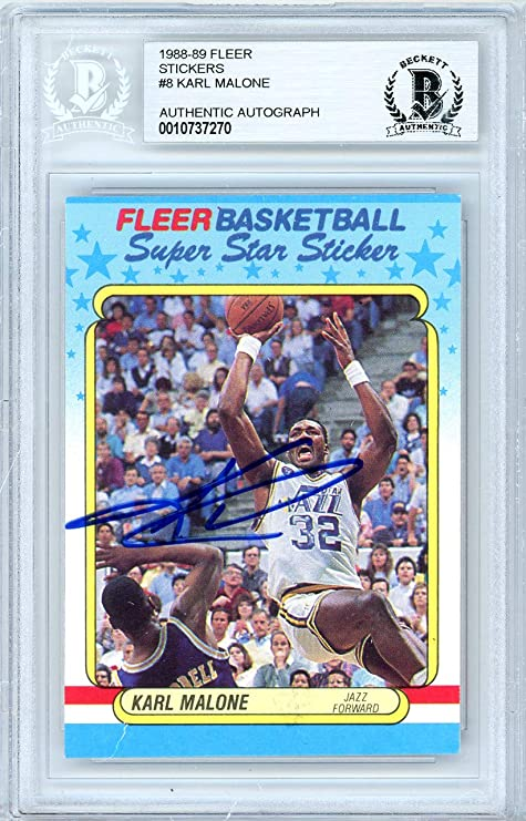 da71c88d0 Karl Malone Autographed 1988-89 Fleer Sticker Card Autographed  8 Utah Jazz  - Beckett
