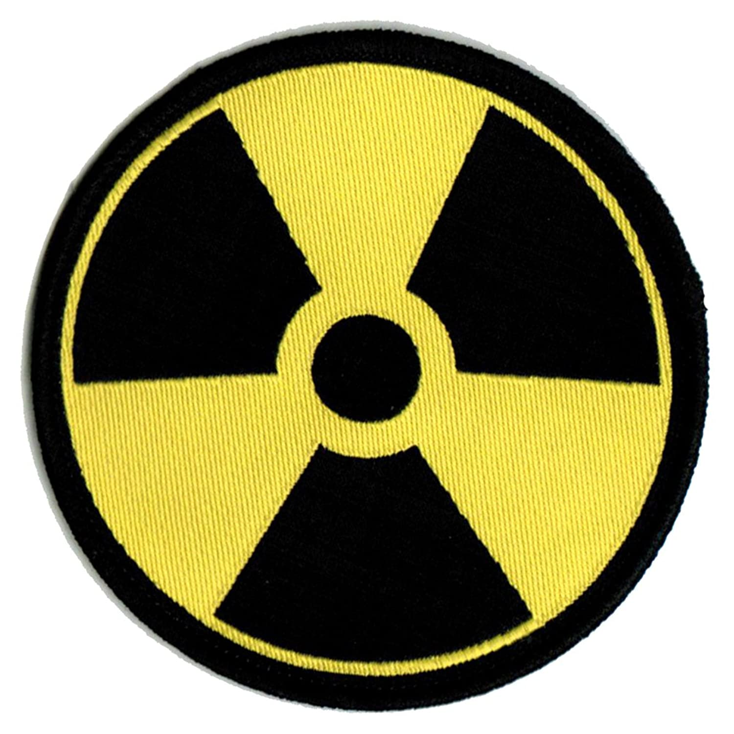 Nuclear radiation symbol embroidered patch iron on danger symbol nuclear radiation symbol embroidered patch iron on danger symbol yellow logo at amazon womens clothing store biocorpaavc Gallery