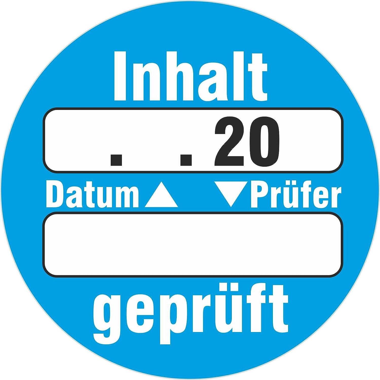 50 Stück Inhalt geprüft Qualitätskontrolle Prüfetiketten / Prüfplaketten zum selbst eintragen 30 mm