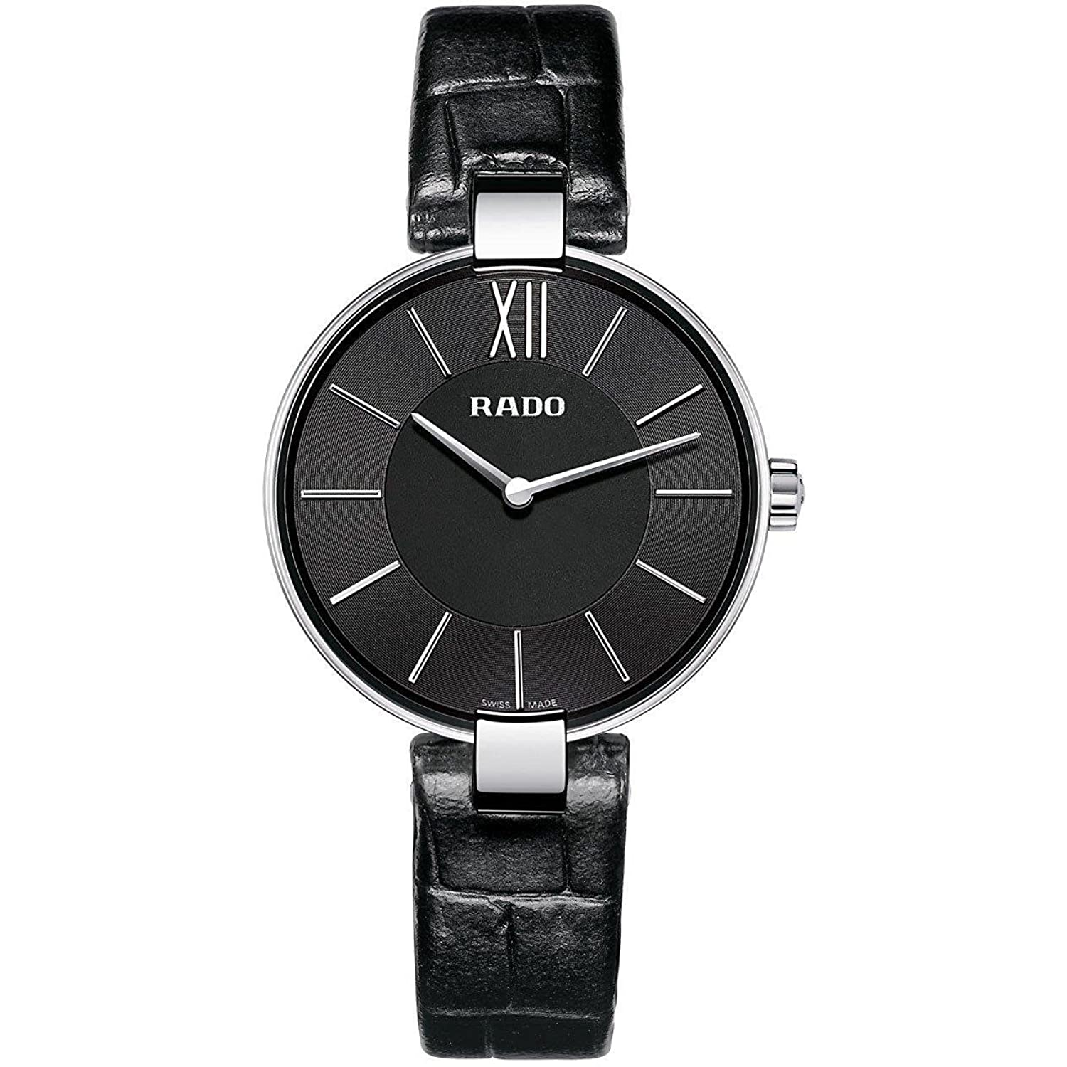 Rado r22850155腕時計Coupole Ladies Black DialステンレススチールCase Quartz Movement B00HHD73Y4
