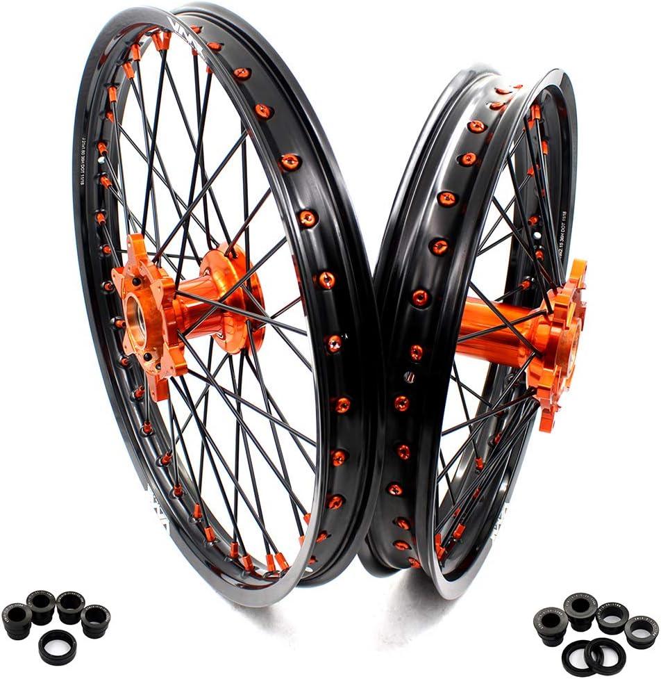 Vmx Cast Wheel Set Of 21 Zoll 19 Zoll Motorrad Felge Fit Ktm 125 250 450 525 Sx Sx F 2003 2019 Dirtbike Mountainbike Orange Cast Nabe Schwarz Aluminium Felge 21 19 Auto