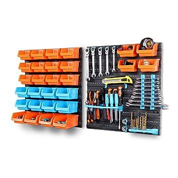HORUSDY 43 Piece Tool Storage Bins Garage Parts Organizer Wall Mounted  Board Workshop Shed Box Trays