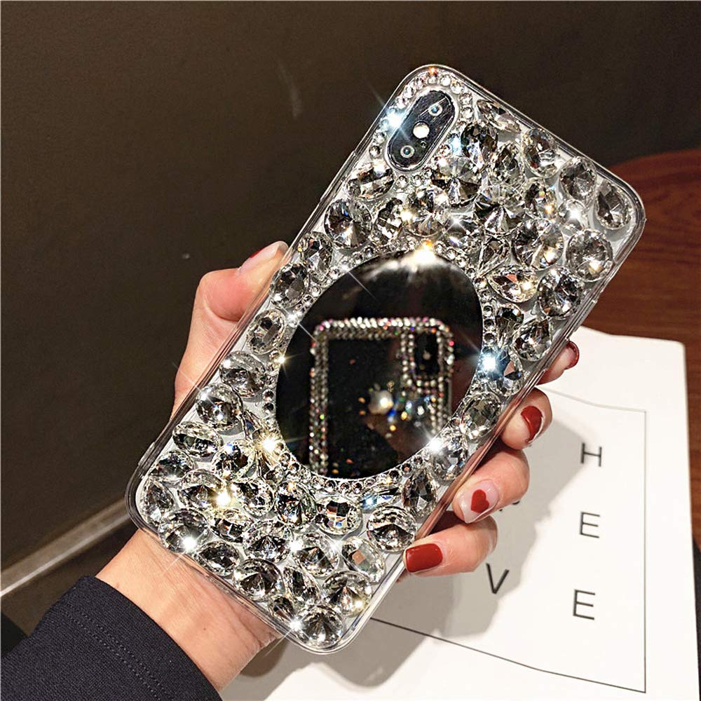 Diamond Case for iPhone Xs Max Cover,3D Handmade Bling Rhinestone Diamonds Luxury Sparkle Mirror Case Girls Women Full Crystals Bling Diamond TPU Bumper Case Cover for iPhone Xs Max Mirror Case,Clear by ikasus