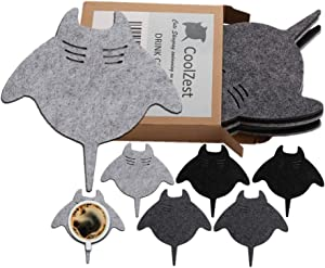 CoolZest Fun Coasters Gray Grey Black Outdoor Coasters for Drinks, Coastal Nautical Beach Wooden Coffee Table Tabletop Decor Absorbent Felt, Cup Coaster Set 6, Cute House Warming Presents for New Home