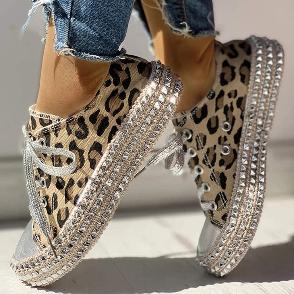 Milamy Women Leopard Print Canvas Shoes Lace-Up Low Top Sneaker Lace-up Non Slip Shoes Classic-Fit Casual Shoes