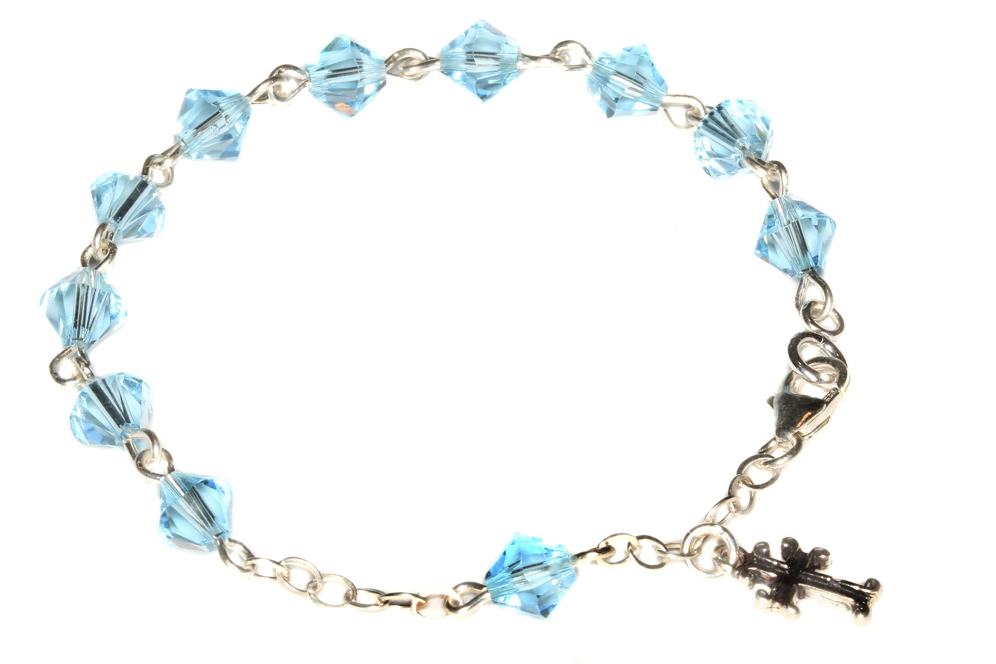 Child Rosary Bracelet made with Aquamarine Blue Swarovski Crystal elements - March (Communion & more)