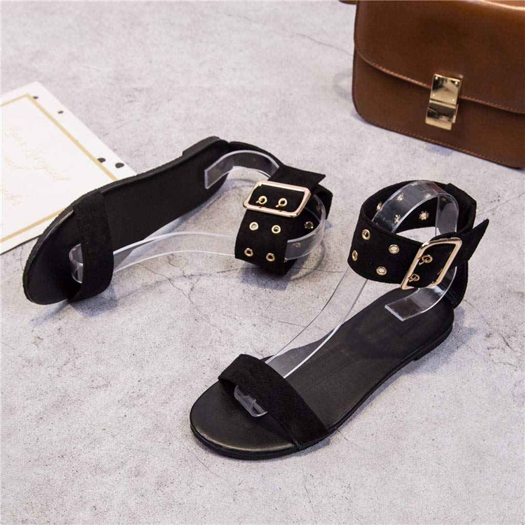 Sanyyanlsy Woman Elegant Single Band Sandals Buckle Strap Ankle Strap Flat Sandals Peep Toe for Evening Club Party Black by Sanyyanlsy