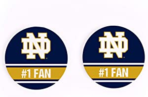 #1 Fan Notre Dame 2.75 x 2.75 Absorbent Ceramic Car Coasters Pack of 2
