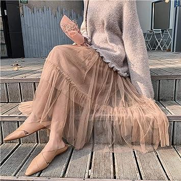 HEHEAB Falda De Invierno,Caqui Otoño Invierno Mujer Ankle-Length ...