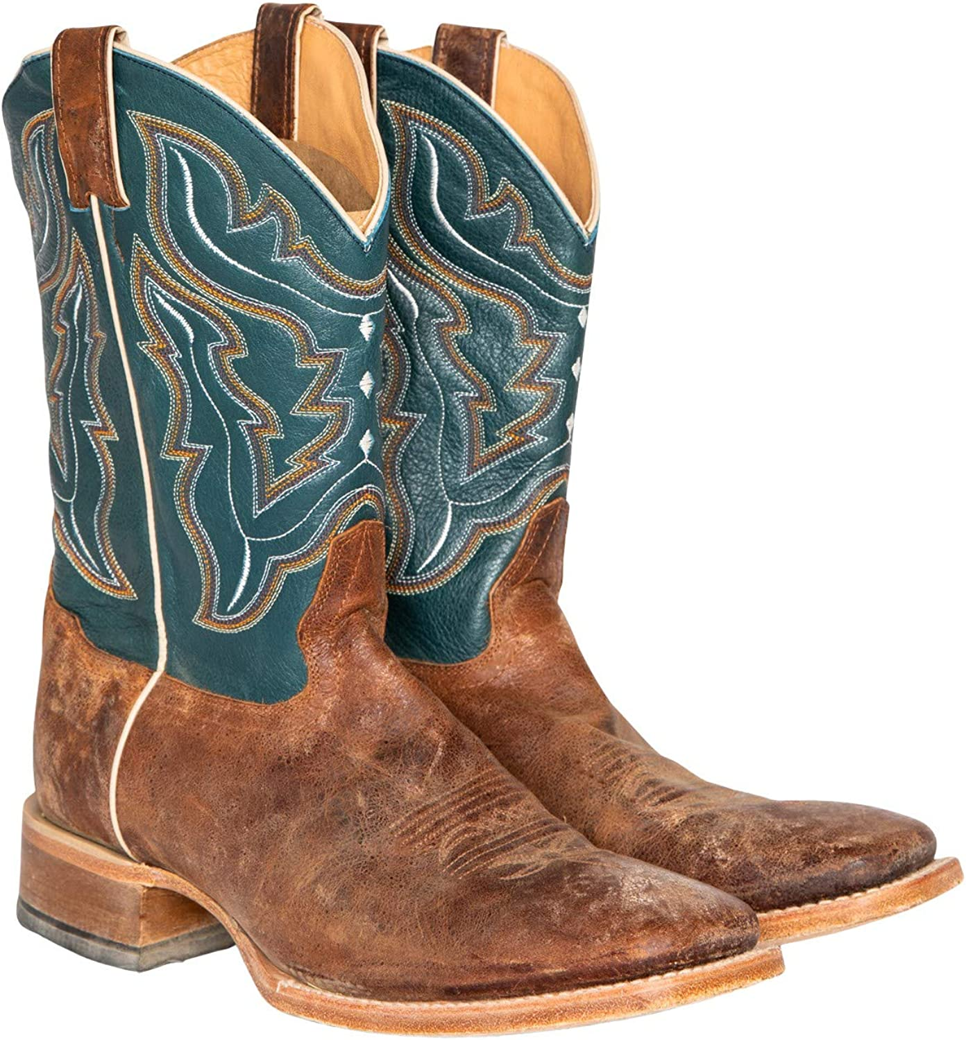Blue Cowboy Boot Wide Square Toe Navy